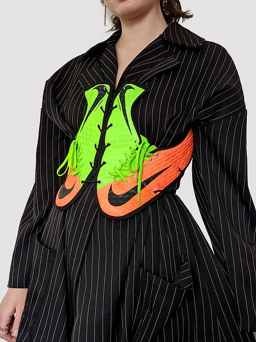 green/orange sneaker corsage