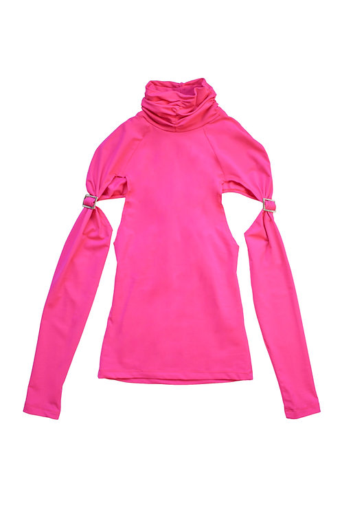 hot pink roll neck