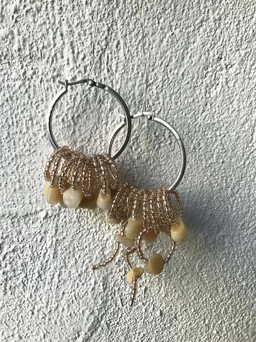 teeth & beads hoops 'baby slut pink'