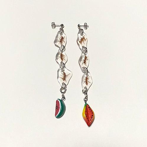 ants & fruit dangle earrings