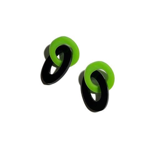 green/black loop earrings