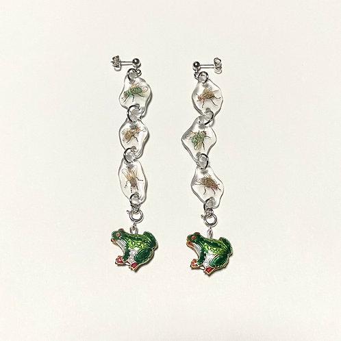 frogs & flies dangle earrings