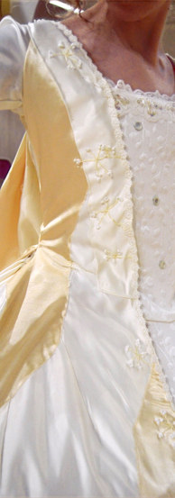 Waist detailing on Rosalind's wedding dress