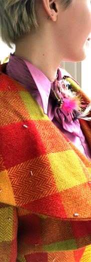 Papageno's suit for The Magic Flute - close up on the cravat