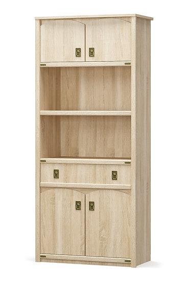 Книжный шкаф 4Д1Ш Валенсия дуб самоа