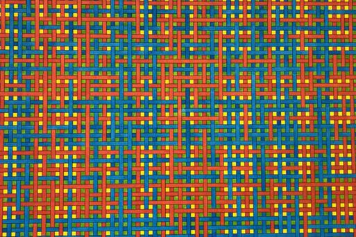 Over en onder blauw rood, groen horizontaal/verticaal en restruimte geel - 2006