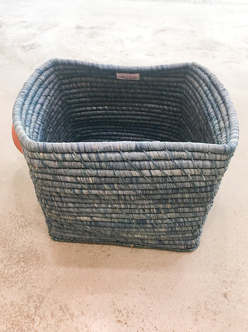 Navy Blue Plain Raffia Hamper