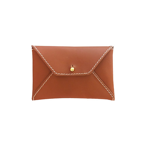 Leather Business Card Holder- Cognac