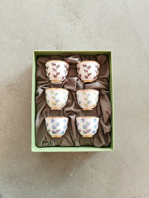 Leaves patterned Cup Set - 6 pieces