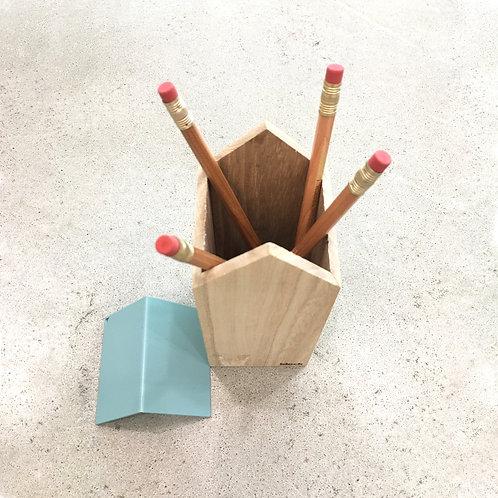 Wooden House Pen Holder
