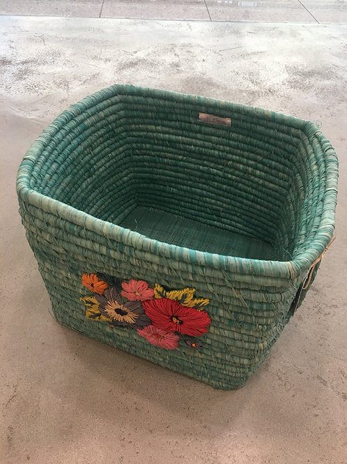 Green Flower Embroidered Raffia Hamper