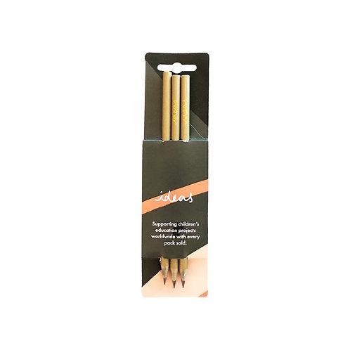 Gold Pencils - Set of 3
