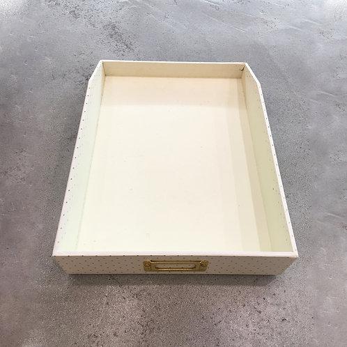 Cream Polka Document Tray