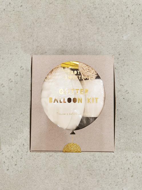 White Glitter Balloon Kit - 8 Pieces