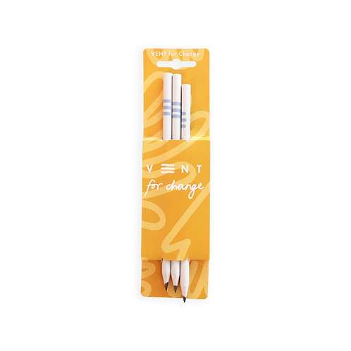 Wave White Pencils - Set of 3