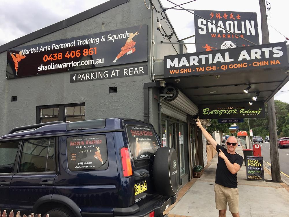 Shifu Darrin outside the Shaolin Warrior Martial Arts studio in Wollongong