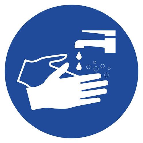 Aufkleber - Hände waschen - blau