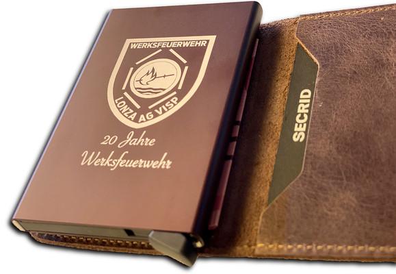 Lasergravur auf Secrid Wallet, Cardprotector