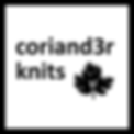 logo for coriand3r knits - link to events page of this website