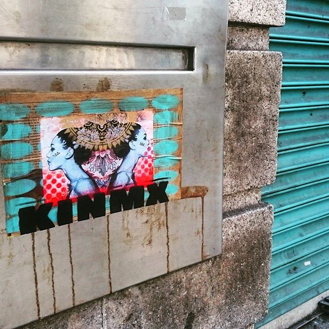 #pasteup #duality #red #turquoise #dublin #streetart #streetartistry #woman #minaw #kathrinarupit #k