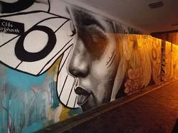 Late night photo of wall in progress in