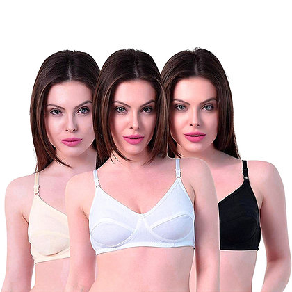 Cotton Non Padded Non-Wired Maternity Nursing Feeding Bra (Pack of 3)