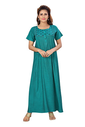 Cotton Rayon Maternity Feeding Nighty with Concealed zip