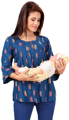 Cotton Rayon Maternity / Feeding Tunic With Concealedzip For Women