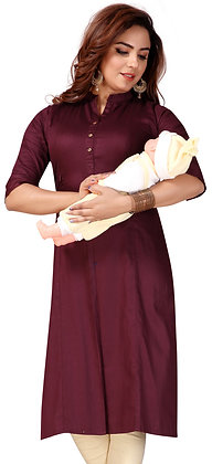 Cotton Straight Maternity/Feeding Kurti with Concealedzip For Women