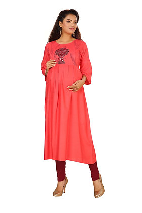 Cotton Rayon Feeding Kurti With Hidden Zips For Breastfeeding