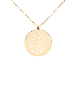 Monstera Engraved Disc Necklace