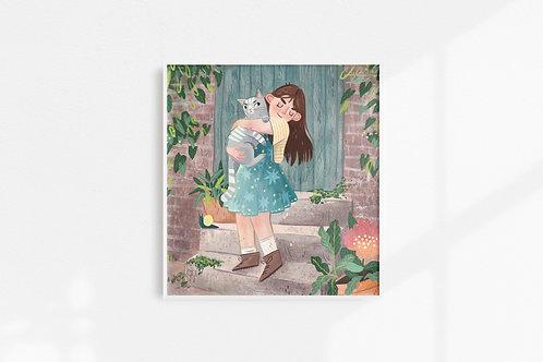 Girl With Cat - Art Print