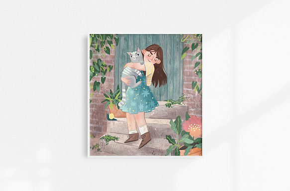 Girl With Cat - Art Print