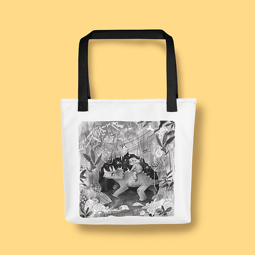 Dinosaur B&W Tote bag