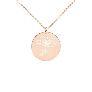 Flower Engraved Disc Necklace