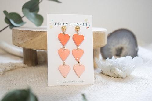 Ceramic Heart Chain - Dangle Earring