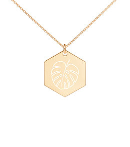 Monstera Leaf Engraved Hexagon Necklace