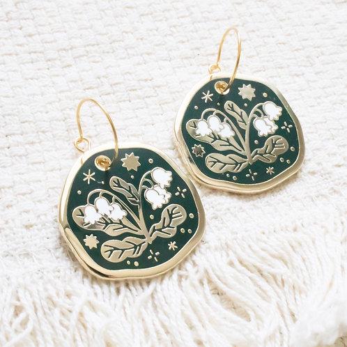 Snowdrop Enamel Earrings