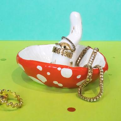 Red Mushroom Jewellery Holder