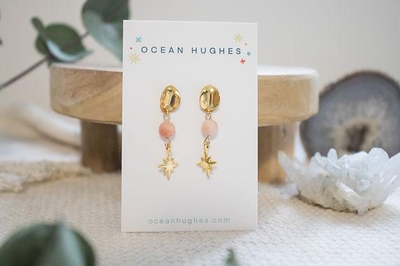 Peach Aventurine Star - Circle Dangle Earring
