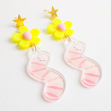 Star Stud Acrylic Worm Earrings