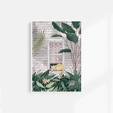 Tropical Cat Nap - Art Print