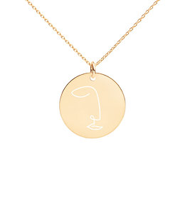 Abstract Face Engraved Disc Necklace