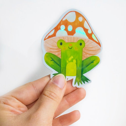 Mushroom Frog Holographic Vinyl Sticker
