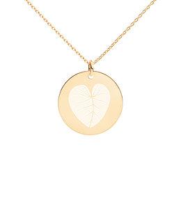 Heart Leaf Engraved Disc Necklace