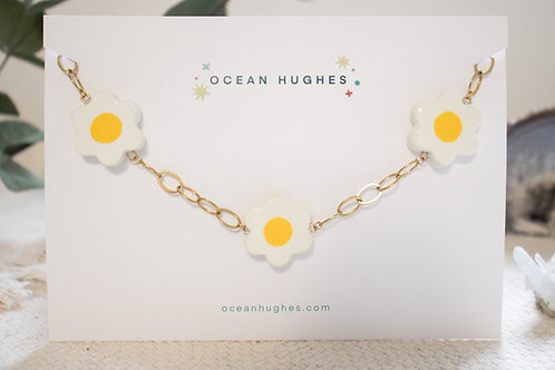 Chunky Ceramic Daisy Chain Necklace