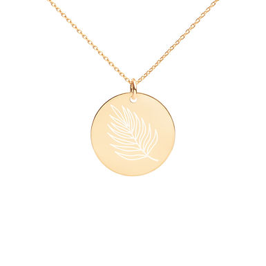 Leaf Engraved Disc Necklace