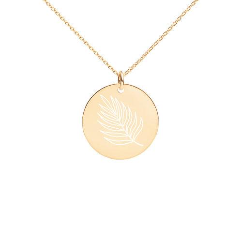 Leaf Engraved Disc Necklace