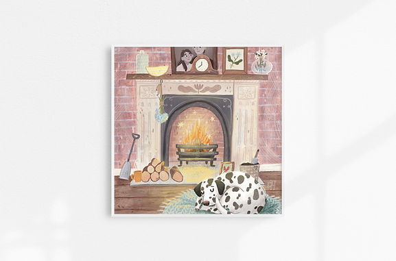 Cozy By The Fire - Art Print