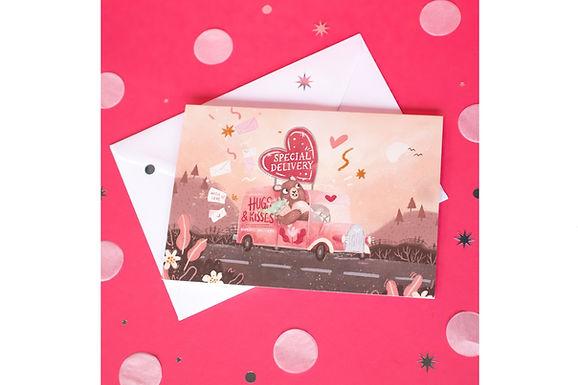 'Hugs & Kisses' A6 greeting card